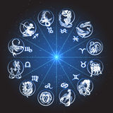 Zodiac Circle Horoscope. Horoscope Zodiac circle. Signs of Fish pisces scorpio aquarius aries virgo lion etc against night sky with stars Royalty Free Illustration