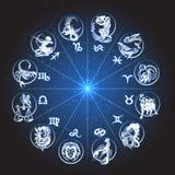 Zodiac Circle Horoscope. Horoscope Zodiac circle. Signs of Fish pisces scorpio aquarius aries virgo lion etc against night sky with stars Stock Photos