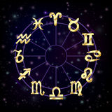 Zodiac circle with horoscope signs Stock Image