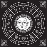 Zodiac circle with horoscope signs, sun and moon hand drawn vintage style vector illustration design. Stock Image