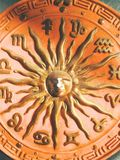 Zodiac Circle. A orange zodiac circle with a detailed sun in the middle Stock Photography