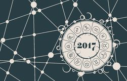 Zodiac circle on snowflakes backdrop. Zodiac circle with 2017 new year number.Vector illustration. Snowflakes at the intersection of the lines Royalty Free Stock Photos