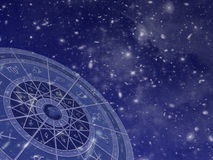 Zodiac circle on star field Royalty Free Stock Images