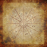 Zodiac circle on very old paper Stock Image