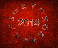 2014 Zodiac circle with zodiac sign. S on the red grunge background Vector Illustration