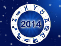 2014 Zodiac circle with zodiac signs. On the blue background Vector Illustration