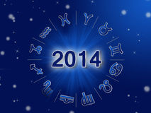 2014 Zodiac circle with zodiac signs. On the blue background Stock Illustration