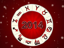 2014 Zodiac circle with zodiac signs. On the red background Vector Illustration