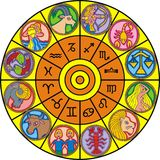 Zodiac clock Stock Images