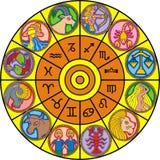 Zodiac clock Stock Images