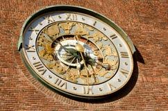 Zodiac clock. Astronomical zodiac clock close up stock photos