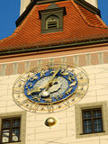 Zodiac clock closeup in blue and golden colours. Royalty Free Stock Image