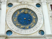 Zodiac clock at San Marco square in Venice, Italy. St Mark's Clock is the clock housed in the Clocktower on the Piazza San Marco in Venice, Italy, adjoining the royalty free stock photos