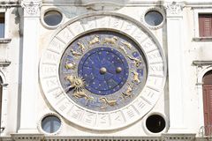 Zodiac clock  in Venice. Zodiac clock at San Marco square in Venice royalty free stock photo
