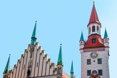 Zodiac Clock Tower Munich city center royalty free stock photos