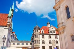 Zodiac Clock Tower and Munich Old city center stock photo