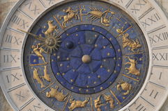 Zodiac Clock in Venice. Beautiful zodiac clock at the Piazza San Marco (St. Marks Square) in Venice, Italy stock photos