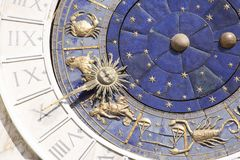 Zodiac clock in Venice stock photography