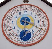 Zodiac clockworks. An isolated colorful zodiacal clock on the wall Royalty Free Stock Photo