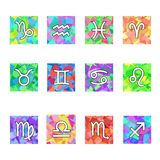 Zodiac Colorful Horoscope Square Vector Icons Set. Vector in addition Stock Image