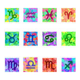 Zodiac Colorful Horoscope. Square Vector Icons with zodiac signs. Royalty Free Stock Photo