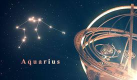 Zodiac Constellation Aquarius And Armillary Sphere Over Blue Background Royalty Free Stock Photo