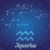 Zodiac constellation Aquarius - position of stars and their names Royalty Free Stock Photo