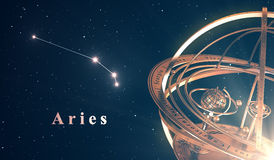 Zodiac Constellation Aries And Armillary Sphere Over Blue Background. 3D Illustration Stock Images
