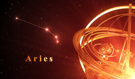 Zodiac Constellation Aries And Armillary Sphere Over Red Background. 3D Illustration Royalty Free Stock Photography