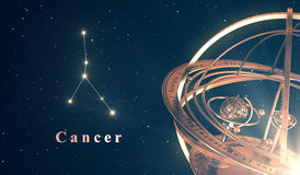 Zodiac Constellation Cancer And Armillary Sphere Over Blue Background Royalty Free Stock Photography