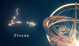 Zodiac Constellation Pisces And Armillary Sphere Over Blue Background Royalty Free Stock Photos