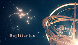 Zodiac Constellation Sagittarius And Armillary Sphere Over Blue Background Stock Images