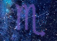 Zodiac constellation Scorpius. Astronomy / Astrology / Space / Universe illustration on Scorpius (The Scorpion) Zodiac constellation. Scorpius sign corresponds Stock Photos
