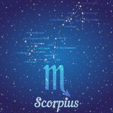 Zodiac constellation Scorpius - position of stars and their names Royalty Free Stock Photo