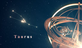 Zodiac Constellation Taurus And Armillary Sphere Over Blue Background Royalty Free Stock Photography