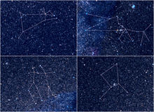 Zodiac constellations Aries Taurus Gemini Cancer. Universe / Space astronomy / astrology abstract background / backdrop illustration: four Zodiac constellations stock photo