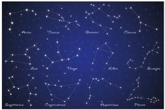12 zodiac constellations. On blue background with glowing stars stock illustration
