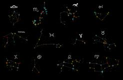 Zodiac constellations collection Stock Photo