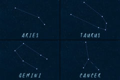Zodiac Constellations horoscope symbols Royalty Free Stock Images