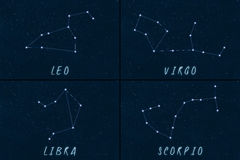 Zodiac Constellations horoscope symbols Royalty Free Stock Photo