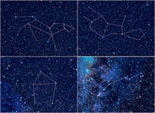 Zodiac constellations Leo Virgo Libra Scorpio. Universe / Space astronomy / astrology abstract background / backdrop illustration: four Zodiac constellations Royalty Free Stock Photos