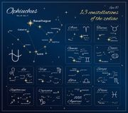 Zodiac Constellations Set. 13 Constellations with titles, dates and proper names of stars. Horoscope. Zodiac signs. Vector. Illustration royalty free illustration