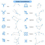 Zodiac constellations vector symbols. Stock Photo