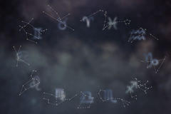 Zodiac constellations. Zodiac signs. Signs of zodiac. Stock Photography