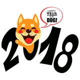 2018 Zodiac Dog. Happy cute shiba inu dog with 2018 text celebrating zodiac chinese new year Stock Photo