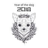 2018 Zodiac Dog. New year design. Christmas background. Vector illustration. Stock Images