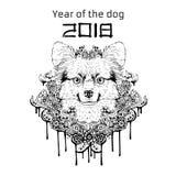2018 Zodiac Dog. New year design. Christmas background. Vector illustration. Stock Images