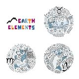 Zodiac Earth Elements Set royalty free illustration