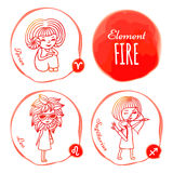 Zodiac element fire. Vector horoscope drawn by hand. Set of 3 zodiac signs of elements of fire: Aries, Leo and Sagittarius. Little girls drawn with a red outline Stock Photography