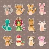 zodiac för 12 djur kinesisk etiketter royaltyfri illustrationer